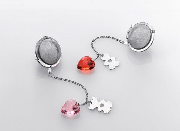 Pink Heart Shape Ball Infuser
